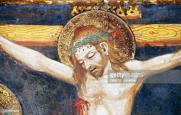 Face of Christ detail from the fresco cycle Stories of the Virgin by Ottaviano Nelli Chapel of Trinci Palace Foligno Umbria Italy