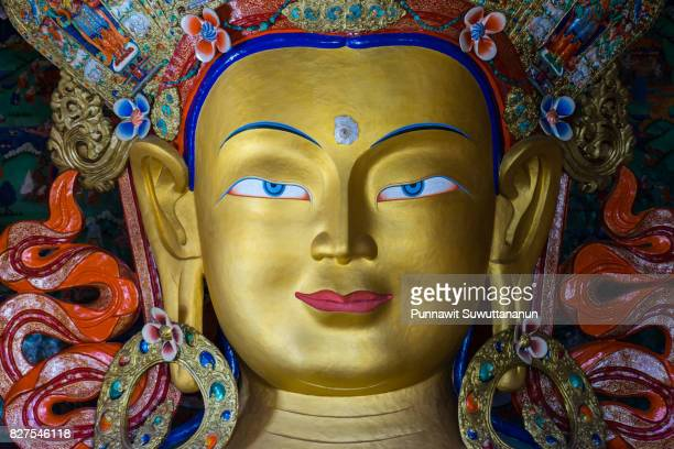 Face of future Buddha in Thiksey monastery, Leh, Ladakh, India