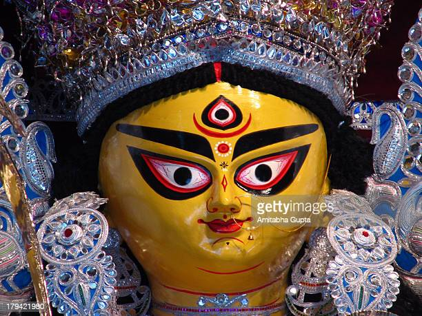 face of goddess durga idol, bagbazar - durga stock photos and pictures