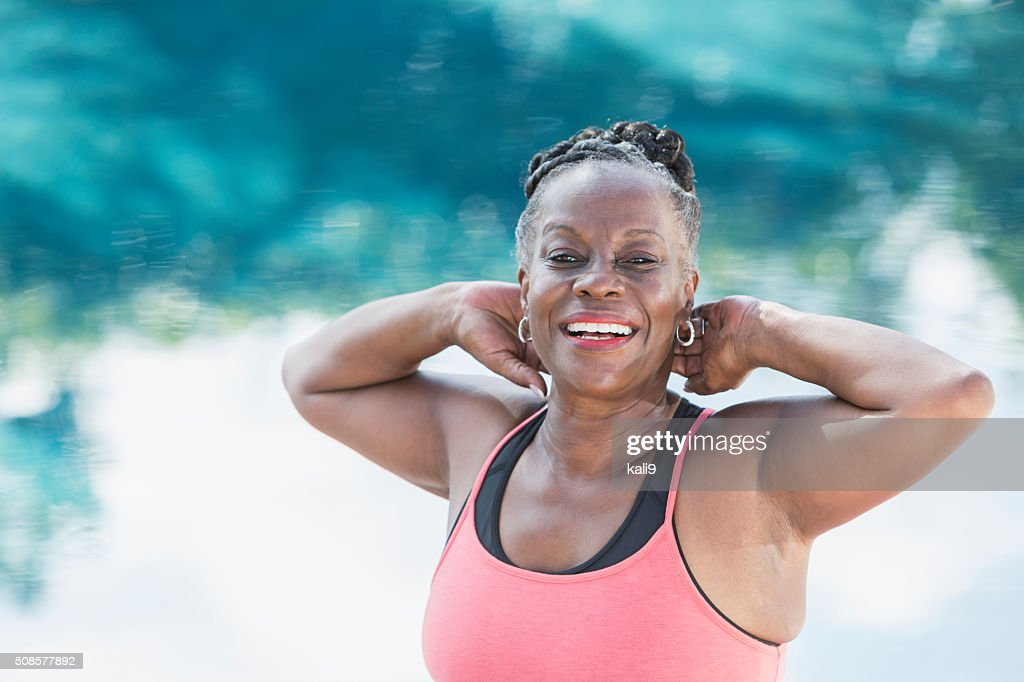 Face of happy mature African American woman : Stock Photo
