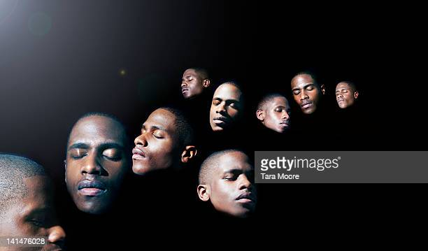 face of man cloned several times - dreaming stock pictures, royalty-free photos & images