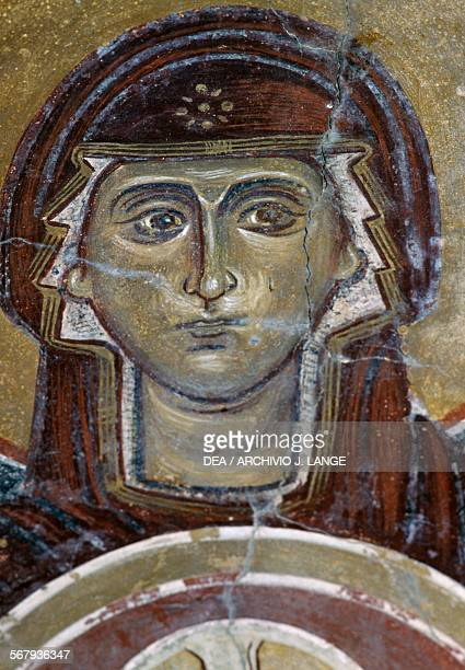 Face of Maria fresco in the Byzantine church of Agios Georgios Vathi Crete Greece