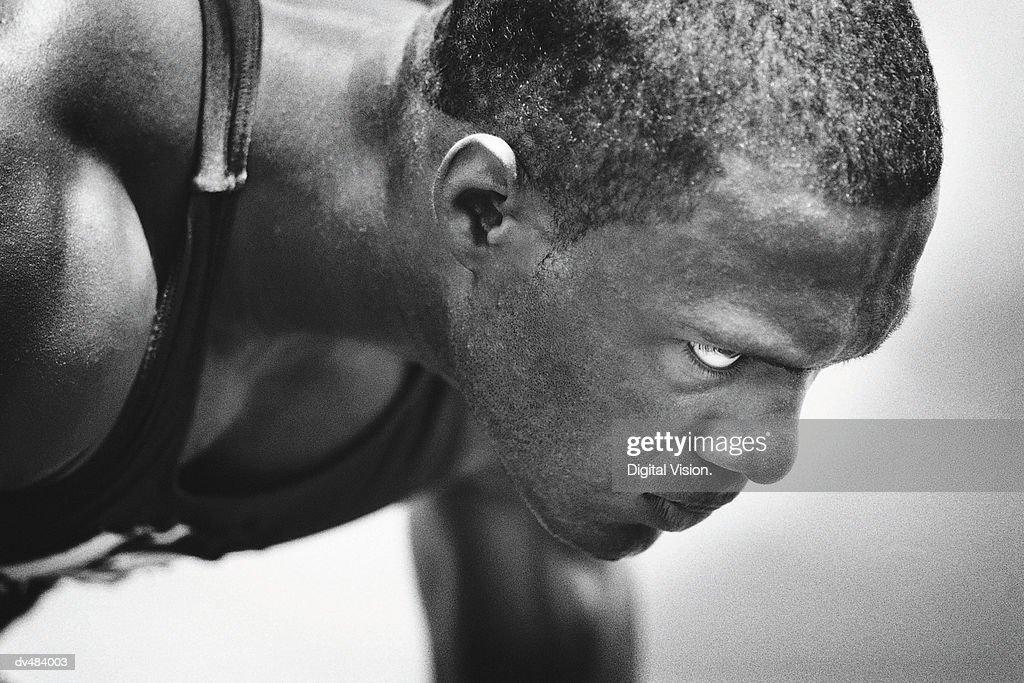 Face of runner in starting blocks : Stock Photo