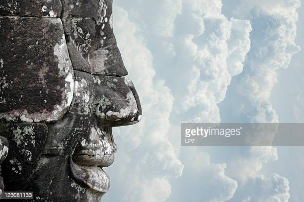 face of temple bayon angkor cambodia - khmer art stock photos and pictures