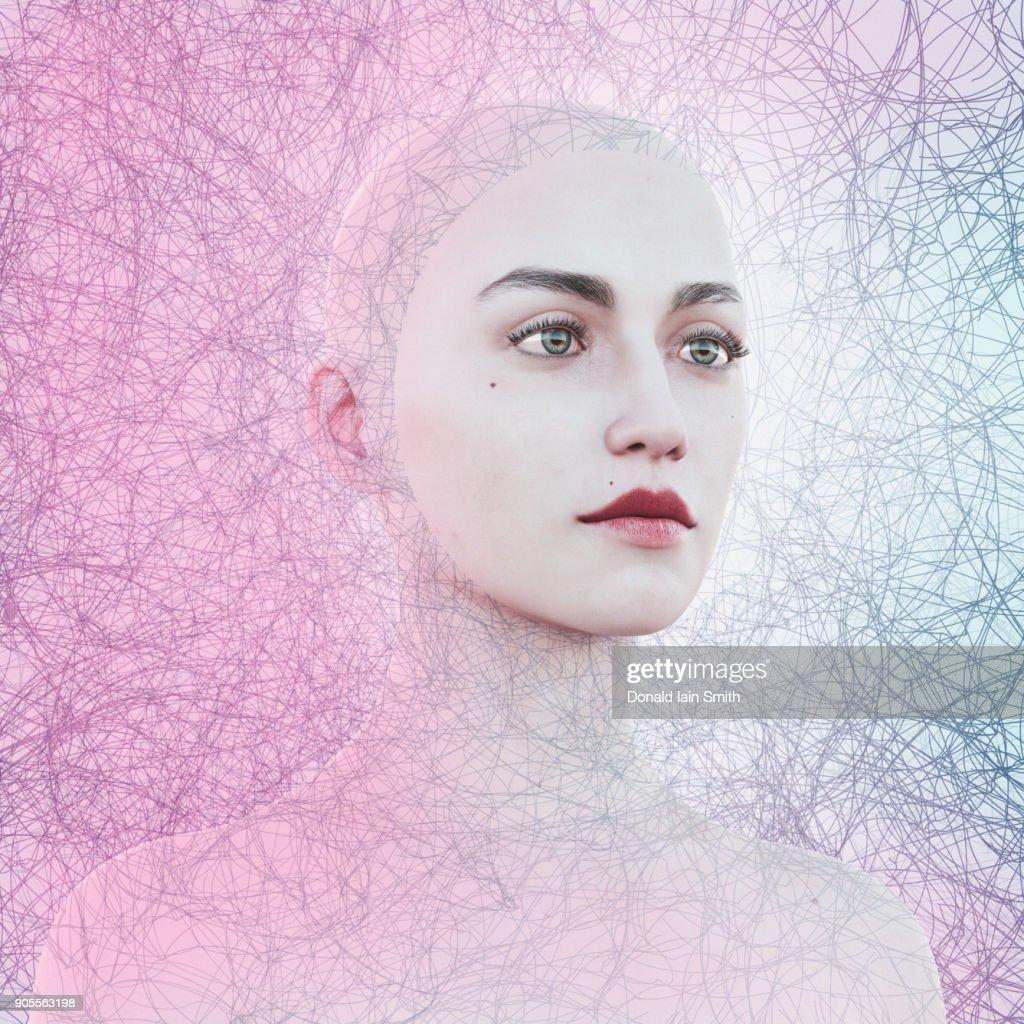 Face of woman in cyberspace : Stock-Foto