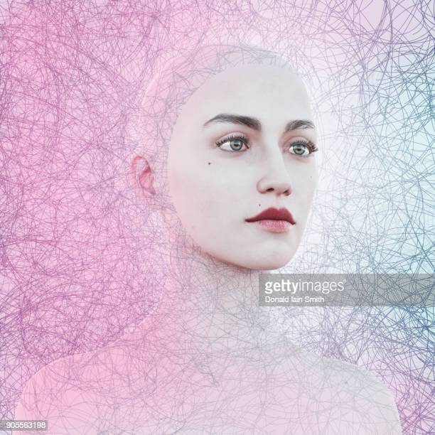face of woman in cyberspace - female likeness stock pictures, royalty-free photos & images