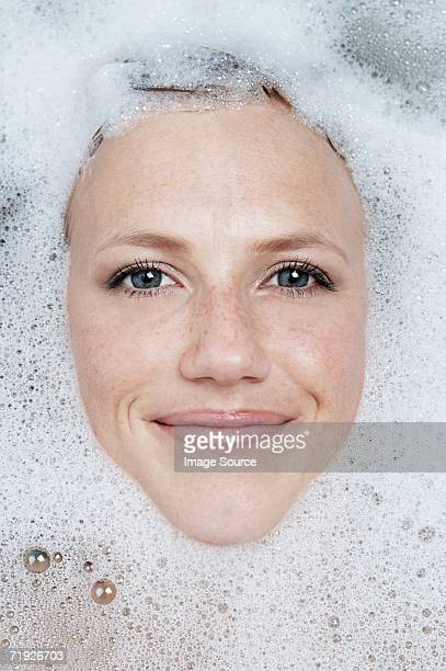 Face of woman in the bath