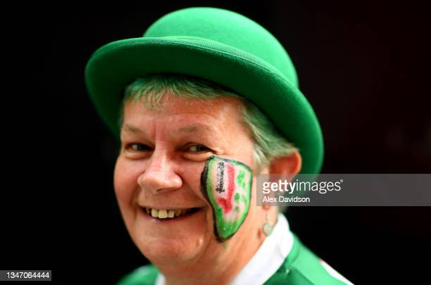 Face paint is seen on a London Irish fan ahead of the Gallagher Premiership Rugby match between London Irish and Gloucester Rugby at Brentford...