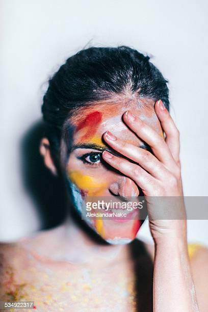 Face painted for holi festival
