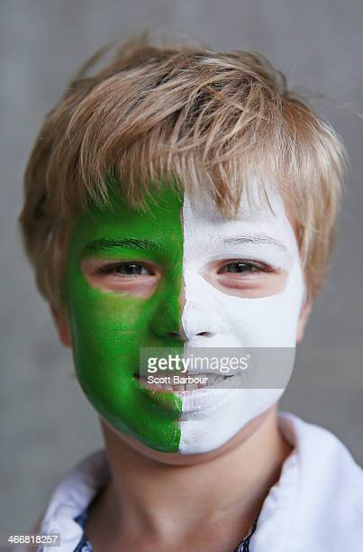 A face painted Stars supporter poses during the Big Bash League Semi Final match between the Melbourne Stars and the Hobart Hurricanes at the...
