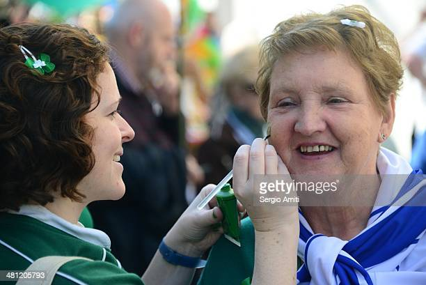 Face painting at the Saint Patrick's Day Parade in London