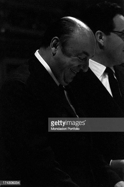 Face profile closeup of the Italian ermetic poet Salvatore Quasimodo winner of the Nobel Prize in literature in 1959 during a reading of the Chilean...