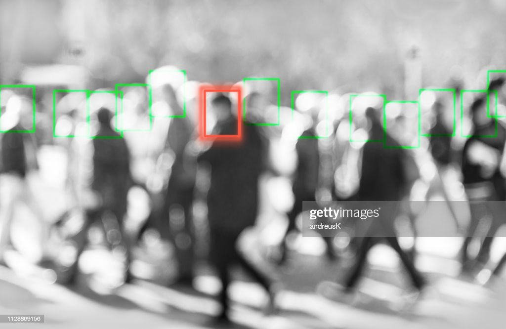 face recognition technology concept of big data and security in city : Stock Photo