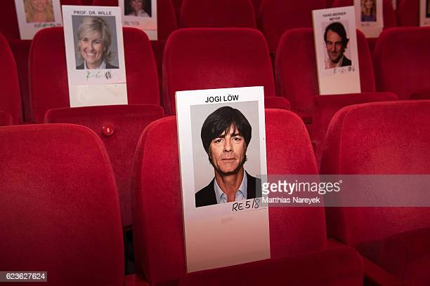Face sheets of celebrity guests for the seating order are seen during the walkabout through the stage theatre prior to the Bambi awards 2016 at Stage...