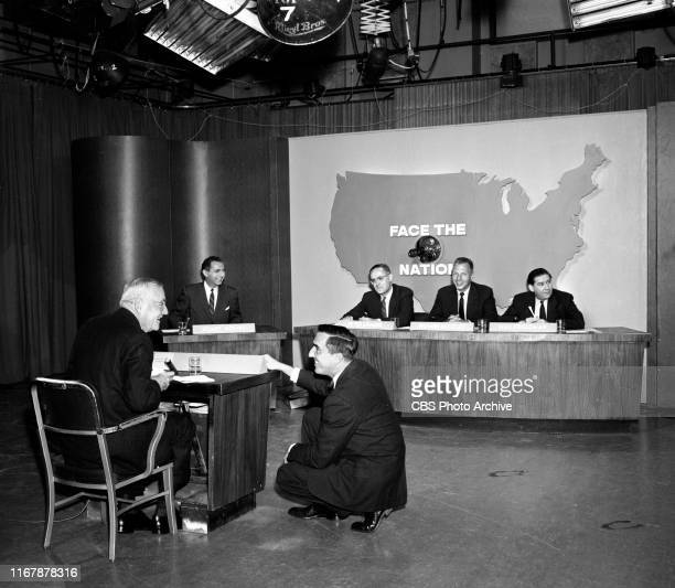 Face the Nation, the CBS television news political interview program. Sunday, October 21, 1956. From left is John Foster Dulles , Stuart Novins , Ted...