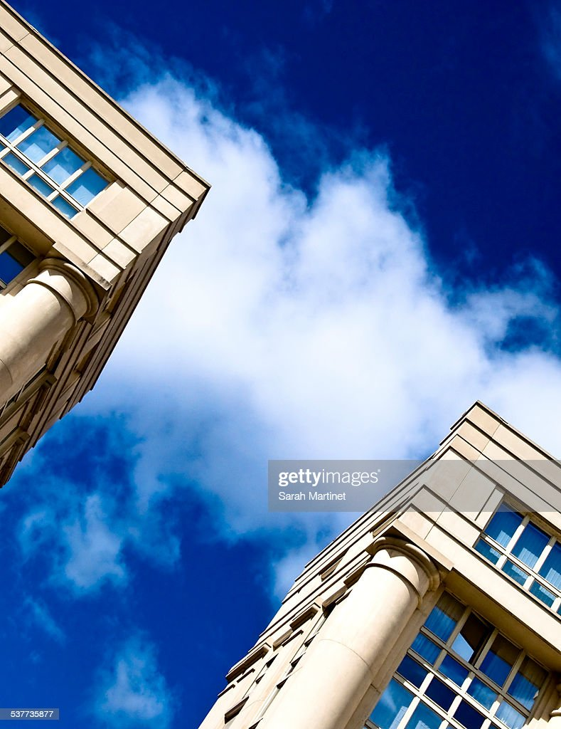 Face to face of two buildings : Foto de stock