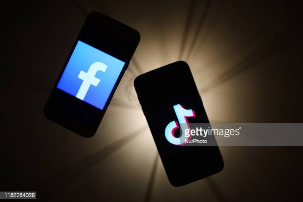 Facebook and Instagram logos are seen displayed on a phone screens in this illustration photo taken in Krakow Poland on November 14 2019