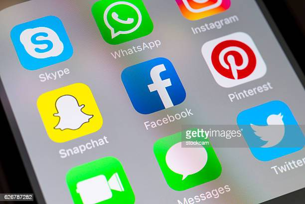 Facebook and social media apps on cellphone