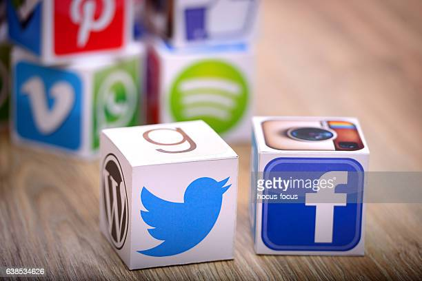Facebook and Twitter social media cubes