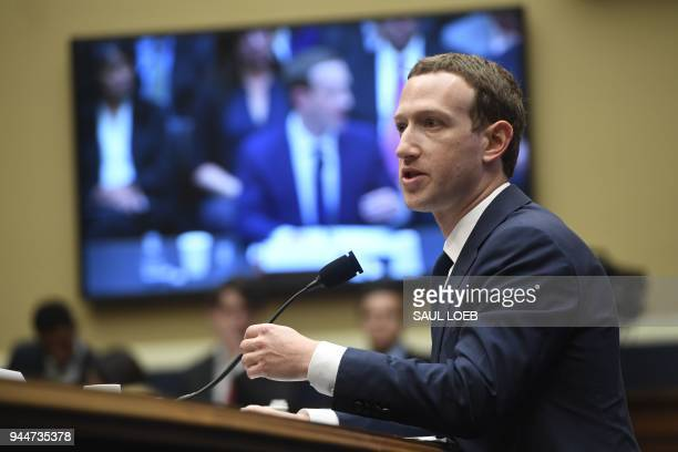 Facebook CEO and founder Mark Zuckerberg testifies during a US House Committee on Energy and Commerce hearing about Facebook on Capitol Hill in...