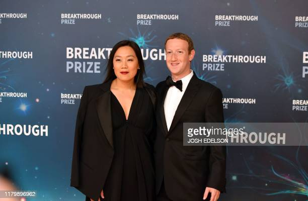 Facebook CEO Mark Zuckerberg and his wife Priscilla Chan arrive for the 8th annual Breakthrough Prize awards ceremony at NASA Ames Research Center in...
