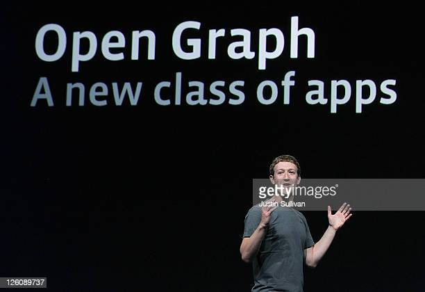 Facebook CEO Mark Zuckerberg announces Open Graph as he delivers a keynote address during the Facebook f8 conference on September 22 2011 in San...