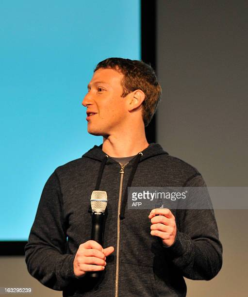 Facebook CEO Mark Zuckerberg answers questions during a media event at Facebook's headquarters in Menlo Park California on March 7 2013 Facebook on...