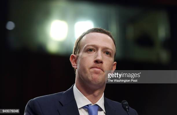 Facebook CEO Mark Zuckerberg appears for a hearing at the Hart Senate Office Building on Tuesday April 10 2018 in Washington DC Zuckerberg who is the...