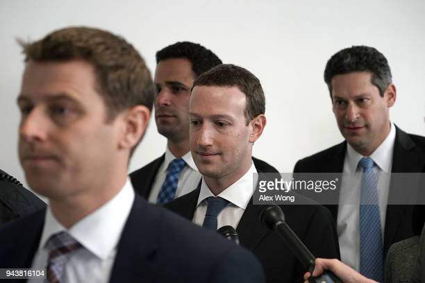 Facebook CEO Mark Zuckerberg arrives at a meeting with US Sen Bill Nelson ranking member of the Senate Committee on Commerce Science and...