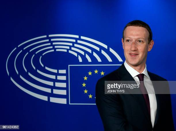 Facebook CEO Mark Zuckerberg arrives at the European Parliament prior to his audition on the data privacy scandal on May 22 2018 at the European...