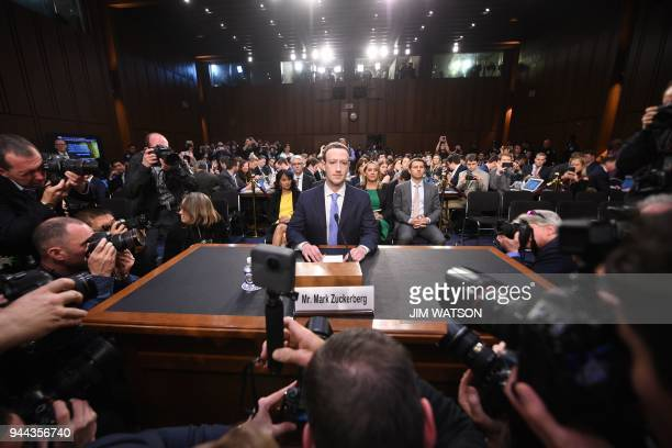 Facebook CEO Mark Zuckerberg arrives to testify before a joint hearing of the US Senate Commerce, Science and Transportation Committee and Senate...