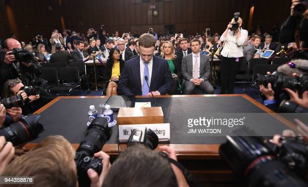 Facebook CEO Mark Zuckerberg arrives to testify before a joint hearing of the US Senate Commerce Science and Transportation Committee and Senate...