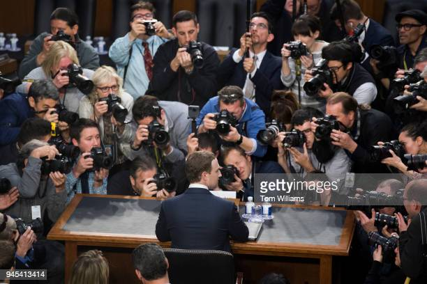 Facebook CEO Mark Zuckerberg arrives to testify before a joint hearing of the Senate Judiciary and Commerce Committees on the protection of user data...