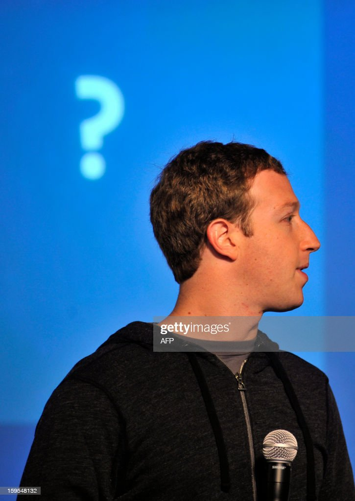 Facebook CEO Mark Zuckerberg as he speaks at an event at Facebook's headquarters office in Menlo Park, California, on January 15, 2012. Today, Facebook announced the limited beta release of Graph Search, a feature that will create a new way for people to navigate connections and search social networks. AFP PHOTO Josh Edelson