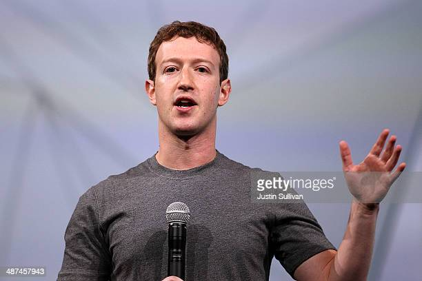 Facebook CEO Mark Zuckerberg delivers the opening keynote at the Facebook f8 conference on April 30, 2014 in San Francisco, California. Facebook is...