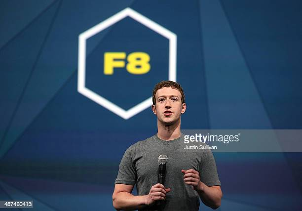 Facebook CEO Mark Zuckerberg delivers the opening keynote at the Facebook f8 conference on April 30 2014 in San Francisco California Facebook is...