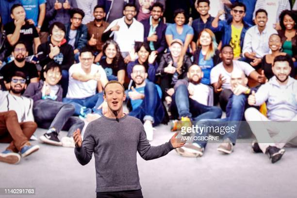 TOPSHOT Facebook CEO Mark Zuckerberg delivers the opening keynote introducing new Facebook Messenger WhatsApp and Instagram privacy features at the...