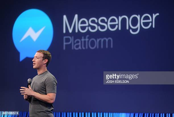 Facebook CEO Mark Zuckerberg introduces a new messenger platform at the F8 summit in San Francisco California on March 25 2015 AFP PHOTO/JOSH EDELSON