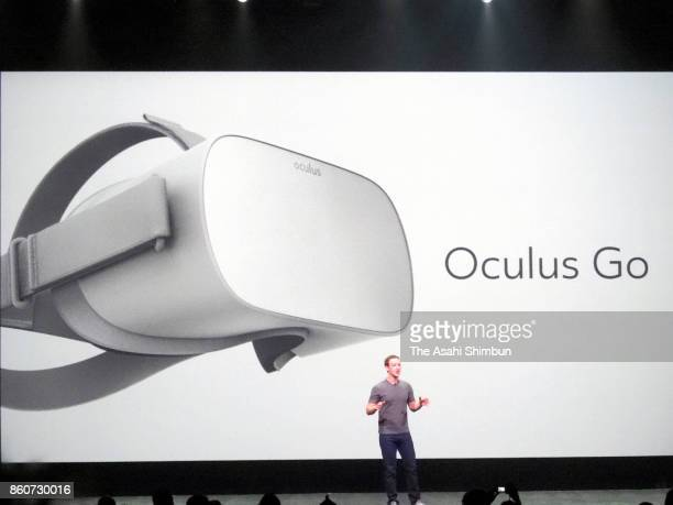 Facebook CEO Mark Zuckerberg introduces the Oculus Go VR headset during the Oculus Connect conference at the San Jose Convention Center on October 11...