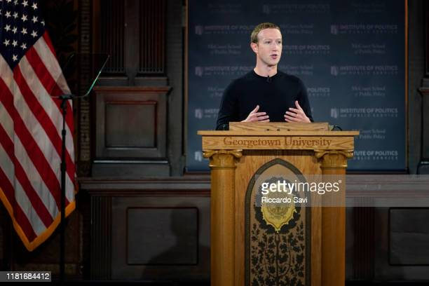 Facebook CEO Mark Zuckerberg leads a conversation on free expression at Georgetown University on October 17 2019 in Washington DC The event was...