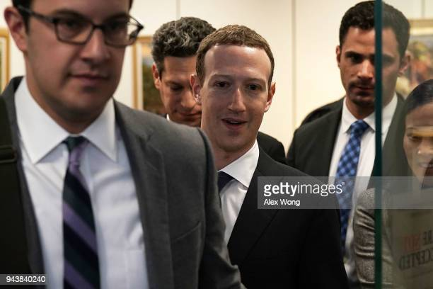 Facebook CEO Mark Zuckerberg leaves after a meeting with US Sen Bill Nelson ranking member of the Senate Committee on Commerce Science and...