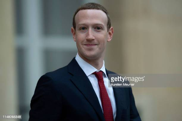 Facebook CEO Mark Zuckerberg leaves the Elysee Palace after a meeting with French President Emmanuel Macron on May 10 2019 in Paris France President...