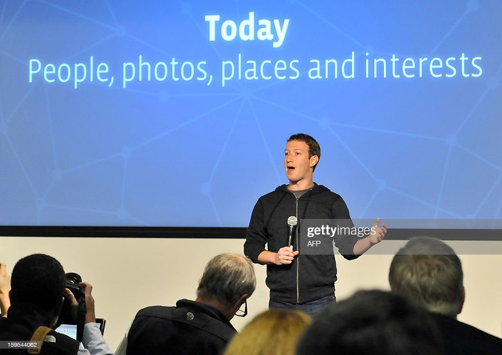 Facebook CEO Mark Zuckerberg speaks at an event at Facebook's Headquarters office in Menlo Park, California on January 15, 2012. Today, Facebook announced the limited beta release of Graph Search, a feature that will create a new way for people to navigate connections. AFP Photo Josh Edelson