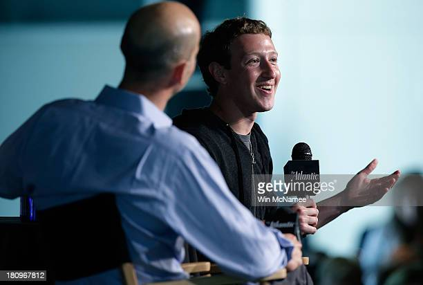Facebook CEO Mark Zuckerberg speaks at the Newseum September 18 2013 in Washington DC Zuckerberg participated in an interview with James Bennet...