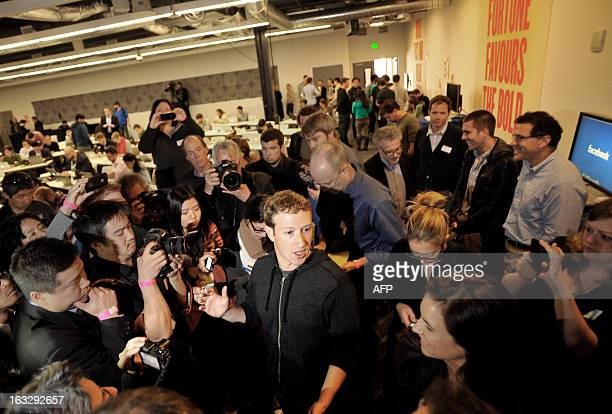 Facebook CEO Mark Zuckerberg speaks during a media event at Facebook's headquarters in Menlo Park California on March 7 2013 Facebook on Thursday...