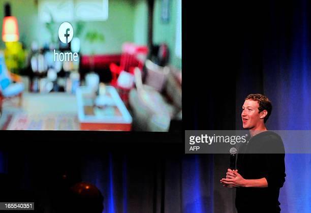 Facebook CEO Mark Zuckerberg speaks during a media event at Facebook's Headquarters office in Menlo Park California on Thursday April 04 2013...