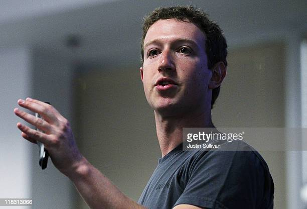 Facebook CEO Mark Zuckerberg speaks during a news conference at Facebook headquarters July 6 2011 in Palo Alto California Zuckerberg announced new...