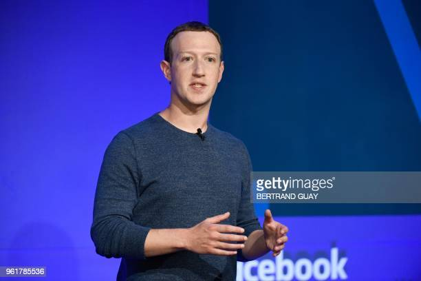 Facebook CEO Mark Zuckerberg speaks during a press conference in Paris on May 23 2018