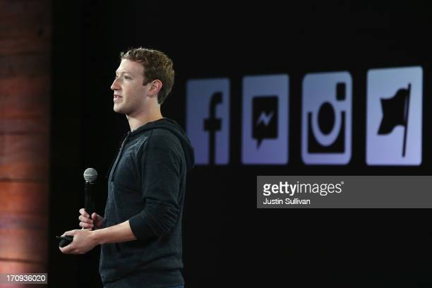 Facebook CEO Mark Zuckerberg speaks during a press event at Facebook headquarters on June 20 2013 in Menlo Park California Zuckerberg announced a new...