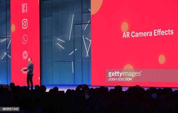 Facebook CEO Mark Zuckerberg speaks during the annual F8 summit at the San Jose McEnery Convention Center in San Jose California on May 01 2018...